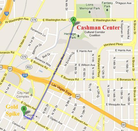 Map from GP Las Vegas to Golden Spike hotel | Cascade Games Blog